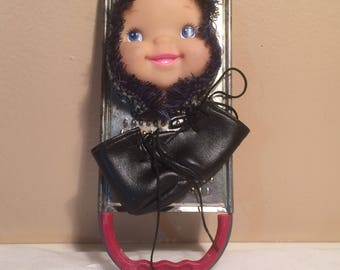 OOAk Cheese grater Home Decor Assemblage Upcycle Doll