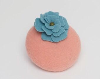 Blue peach fascinator hat headpiece wedding bridesmaid ascot races goodwood boho vintage hippie flowers unique