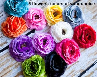 "Ruffled Ranunculus - Soft Petal Ranunculus 3.5"" - Set of 5 - You Choose Colors - Ruffled Rannies"