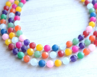 Betty - Rainbow Multi Color Agate Multi Strand Statement Necklace
