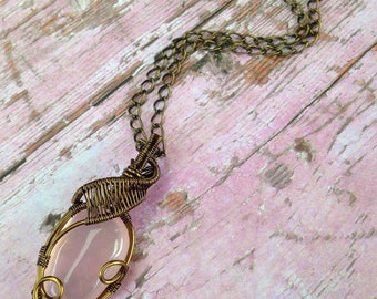 Rose Quartz Wire-Wrapped Pendant | Necklace | Gemstone | Crystal