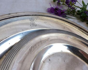 Set of 2 antique hotel silverplate chargers. Hotel silver platter. Jeanne d'Arc living. Antique monogram hotel silver. French nordic decor