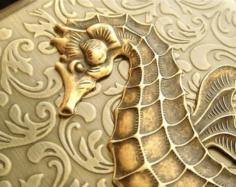 Big Brass Seahorse Cigarette Case Gothic VIctorian Steampunk Vintage Inspired Style Antiqued Gold Brass Tone Metal Large Art Nouveau