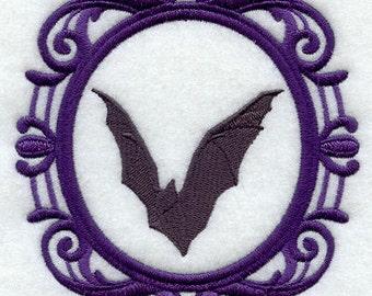 Creepy Cameo Bat Embroidered Flour Sack Hand/Dish Towel