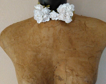Easter, Holiday Bridal Wedding Father's Day Prom White Rosette Embellished Bow Tie