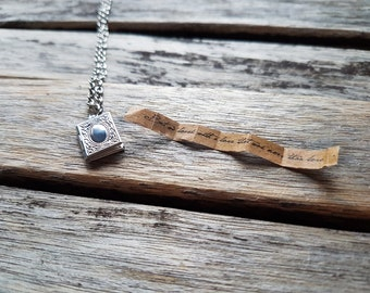 Tiny Book Locket Pendant - Secret Message Locket - Quote Jewelry - Literature Jewelry - Significant Other Gift - Book Pendant -Book Necklace