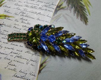 Signed ALICE CAVINESS Blue / Green Navette Leaf Brooch    OEO49