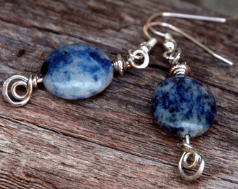 Sodalite Gemstone Earrings with Hand Hammered Decorative Headpins, Blue Natural Stones, Drop Earrings with Silver Accents, Casual Boho Style