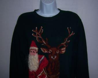 Vintage Dark Green Old Saint Nick Kris Kringle Santa Christmas Sweater Jumper Small Holiday