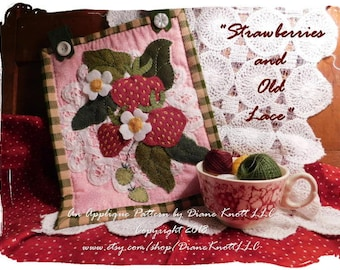 Strawberries and Old Lace Downloadable Digital Applique Pattern by Diane Knott LLC