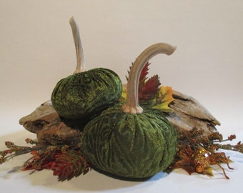 Olive Green Patterened Velvet Pair of Pumpkins with Real Dried Stems