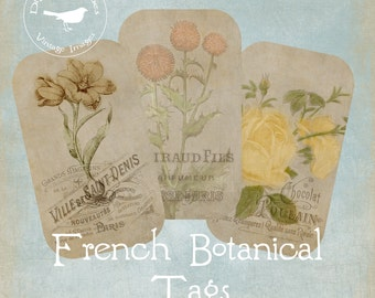 French Vintage Sepia Botanical Tags Printable Digital Download