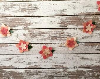 Flower garland, wool felt flower garland, garland, wool felt, flowers, home decor garland, home decor, photo prop, spring and summer garland