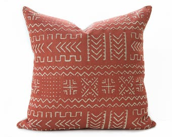 Mudcloth pillow cover, Rust and Beige pillow - Terracotta Mud cloth - Mudcloth pillow - African style pillow - Boho Tribal pillow