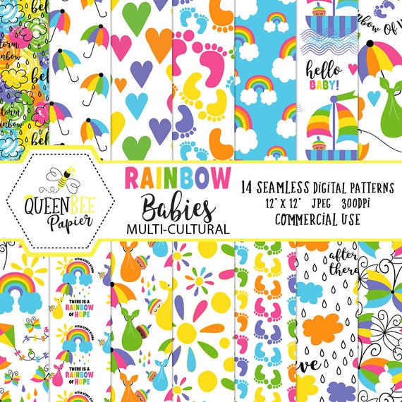 Rainbow Baby Digital Papers