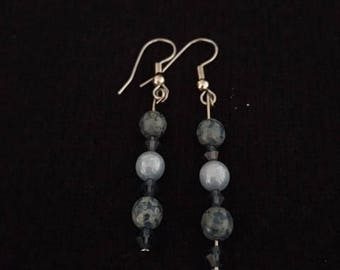 Blue, Green, and Pale Blue Glass Bead Earrings