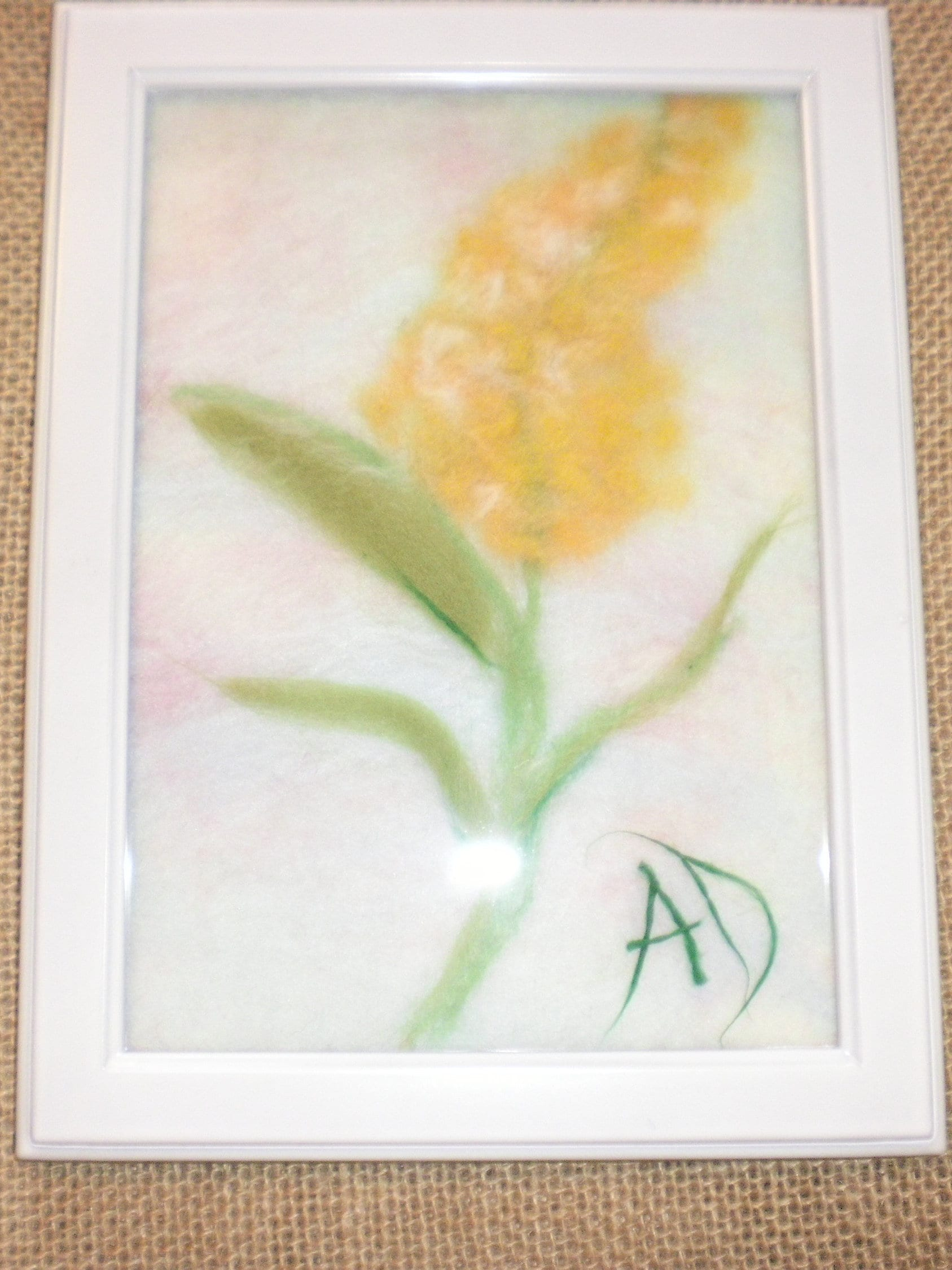 Yellow Lilac flower art wool water color art wool painting