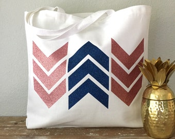 Pink & Blue Arrow Chevron Tote Bag  - beach bag, purse or bridesmaids gift
