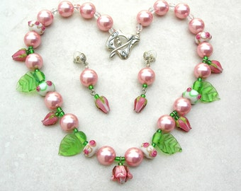 Rose-y Pink Pearls and Glass Roses & Leaves, Pearl and Flower Necklace Set by SandraDesigns, Mother's Day Gift