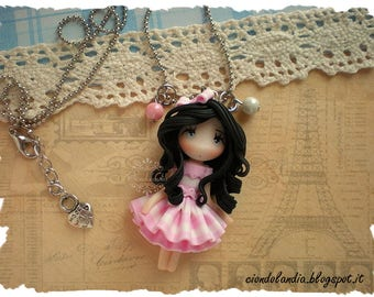 Princess doll necklace (Polymer clay Pink dress)