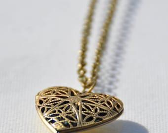 Bronze heart locket necklace