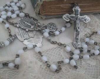 Rosary Necklace, sorrowful mysteries, joyful mysteries, glorious mysteries, Catholic necklace, repurposed, white, religious necklace, ooak