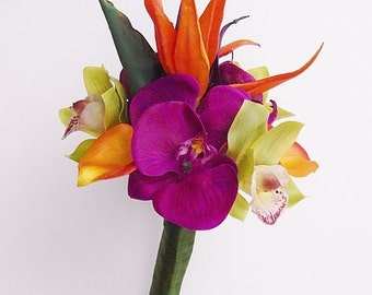 Orange, purple, fuchsia, lime, green, Bird of Paradise, bouquet, Real Touch flowers, tropical, silk, wedding, bridesmaid, maid of honor