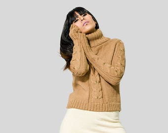 OFF SALE Cable Knit womens sweater| Brown cable Sweater| Comfy sweater cable women clothing| Alpaca Comfy Sweater| Knit Alpaca Sweater