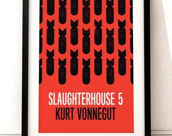 Slaughterhouse 5 print, literary art print, Slaughterhouse 5 book jacket print, typographic print, book cover, literary print, Kurt Vonnegut