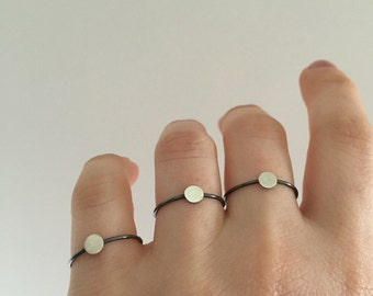 Simple Sterling Silver Dot Stacking Ring, Oxidized Ring