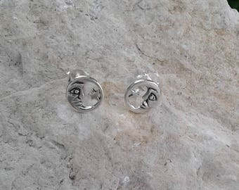 Moon and Star Earrings, Solid Sterling Silver Moon and Star Stud Earrings, Moon Earrings