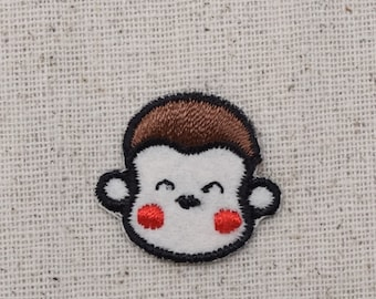 Monkey Face - Felt Head - Rosy Red Cheeks - Iron on Applique - Embroidered Patch - AP-511122
