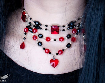 Alice In Wonderland Red Black Choker Necklace - Queen of Hearts Gothic Choker - Victorian Gothic Jewelry