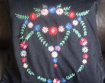 large hand embroidered on black daisy cushion cover 22x22 inchereserved tesss
