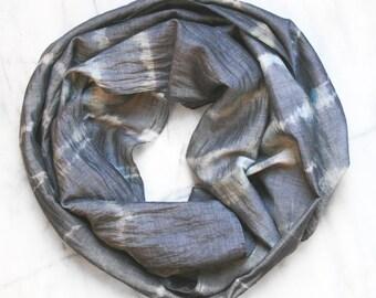 Light Slate Blue Women's Silk Cotton Blend Shibori Tie Dyed Scarf - 1005