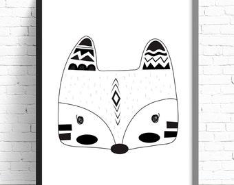 Monochrome Tribal Fox Print - Nursery Print - Kids Room Wall Art - A4 Print - 8x10 Print - Monochrome - Black & White - Tribal Fox