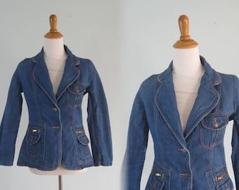 Vintage Denim Jacket - Chic 70s Denim Blazer with Zip Pockets - Vintage Tailored Jean Jacket - Vintage 1970s Jacket S M