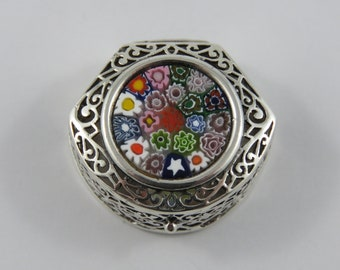 Sterling Silver Pill Box With Glass Bead Flower Top