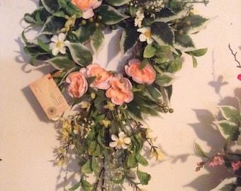 Floral door wreath,summer door wreath,spring door wreath,front door wreath,peach door wreath,summer wreath