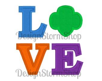 Scout Applique Design/Girl/Love Trefoil Machine Embroidery/Instant Download File