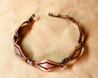 Diamond Concho Copper Link Bracelet