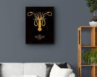 Game of Thrones, Greyjoy Sigil, Greyjoy Crest, House Greyjoy Print, Fictional Travel Print Wall Art. Choose Print or Framed Print.