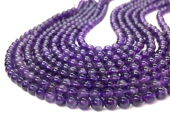 Natural Amethyst Beads 4mm 6mm 8mm 10mm Natural Purple Gemstone Beads Amethyst Jewelry Semi Precious Stone Mala Supplies February Birthstone