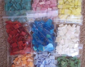 Mosaic Tile 900 red orange yellow blue green aqua pink white Stained Glass Mosaic Tiles