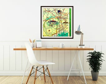 Tallahassee Map Art Tallahassee Gifts, Tallahassee Map Gifts, FSU gifts Dorm Decor, Illustrated maps, Pictorial map Florida State University