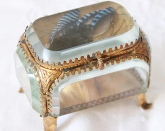 Beautiful Antique French Jewelry Box, Beveled Glass Panels, Ormolu Frame, Feather Decor, Jewel Casket