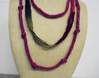 Necklace, long, crocheted 73 cm