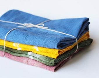 linen kitchen tea towel / hand dyed