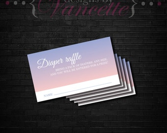 Gradient Diaper Raffle Insert, Diaper Raffle, Diaper Raffle Ticket, Diaper Raffle Card, Baby Diaper Raffle, Baby Shower Insert