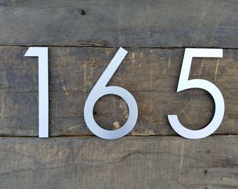 6'' Modern House Numbers Brushed Aluminum Stud Mounted Metal Address Numbers And Letters Minimalist Contemporary